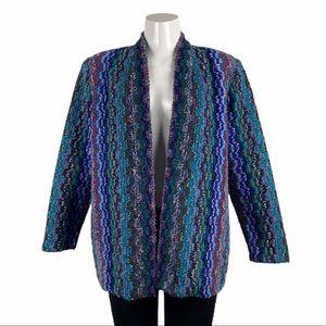 Vintage Textured Multicolour Sweater Blazer